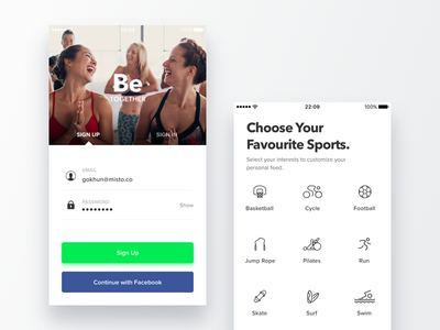 Traina - Onboarding ui design ux design social onboarding network sports ios iphone mobile product ux ui