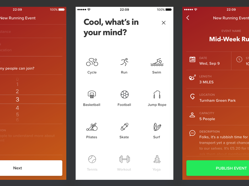 Fitness App - Create New Event ui design ux design social form network sports ios iphone mobile product ux ui