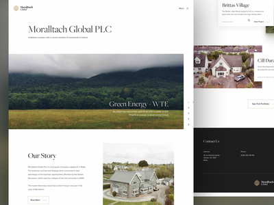 Moralltach Global - Homepage architecture portfolio landing page corporate investment minimal homepage web design