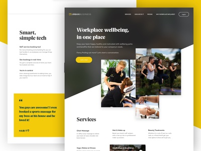 Urban Business - Homepage ux ui landing corporate business card meditation yoga corporate homepage navigation health wellness landing page