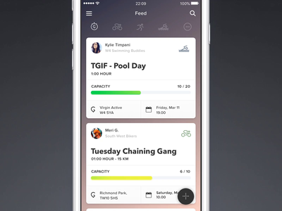 Traina - Feed Animation social app sports interaction design gif animation homescreen feed fitness app ios mobile iphone ux ui