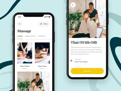 Urban - Treatments tab bar floating button call to action detail page spa wellness ecommerce design ux design ui design product ios mobile iphone ux ui