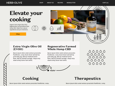 Herb & Olive Website vector black about us about us page landing page branding flat design cbdoil cbd wix web design website