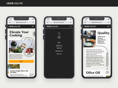 Herb & Olive Mobile Web ux food black branding wix flat design cbdoil olive oil cbd ui mobile ui mobile website responsive about us page about us responsive design landing page web design