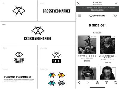Crosseyed Market Branding charity photographer artist collab white black lockup mark logo identity branding