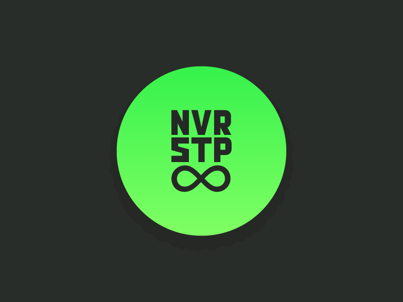 Never Stop t-shirt tee infinity tshirt circle vector gradient neon green illustrator stop never