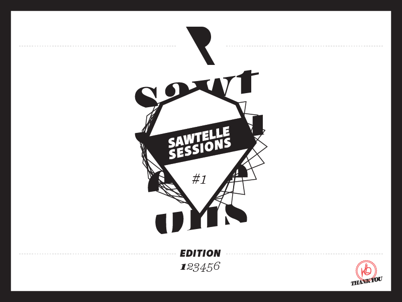 Sawtelle Sessions Insert white black t-shirt illustrator type screen printing