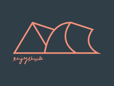 Enjoy the Ride peach blue one color snowboard surf wave mountain scribble hand type vector tshirt