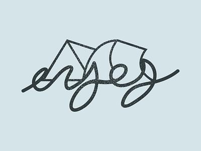 Enjoy the Ride 2 screen print blue waves mountains hand type illustrator vector enjoy
