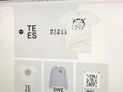 Mentl Nomad Storefront flat wip coming soon grey black white for sale vectors homepage store tees