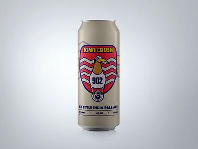 Kiwi Crush Beer Label illustrator vectors ipa new zealand blue red bird beer label wip