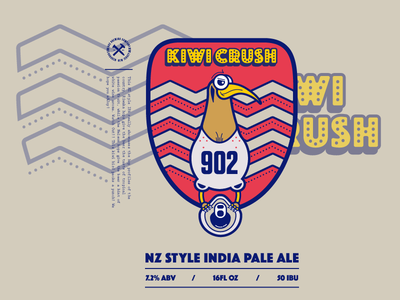 Kiwi Crush Beer Label illustrator vectors ipa new zealand blue red bird beer label wip