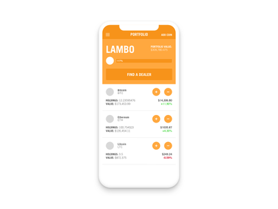 Lambofolio app design mobile design flat design sketch side project orange fun ios portfolio bitcoin cryptocurrency
