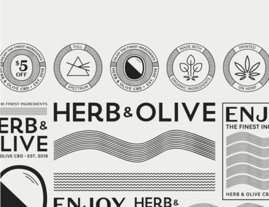 Herb & Olive CBD Branding type design logo vector offwhite flat illustrator waves black branding and identity branding cbd oil