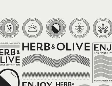 Herb & Olive CBD Branding type design logo vector offwhite flat illustrator waves black branding and identity branding cbd oil