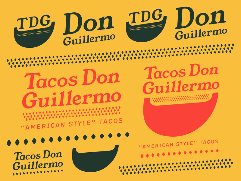 Tacos Don Guillermo Branding tradition culture food truck typography flat design logo illustrator green red yellow vectors branding food tacos