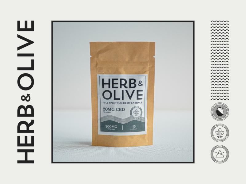 Herb&Olive Pouch Design kraft paper kraft design typography flat design logo vector branding green black photography label cbd pouch package design