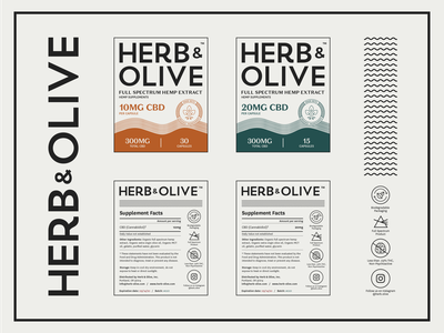 Herb & Olive Pouch Label products capsules branding typography black flat design illustrator vector green orange cbd oil cbd packaging labels
