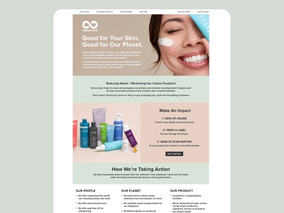 Paula's Choice's TerraCycle Page Layout terracycle paulas choice skincare beauty product recycled layout design green recycling beauty website layout