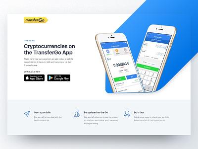TransferGo Crypto mobile landing page web transfergo cryptocurrency crypto ui