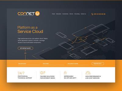 Cloud services illustration website web ui ux design hosting server landing page landing cloud