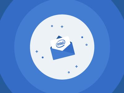 Intel Intern blue invite envelope look inside intel