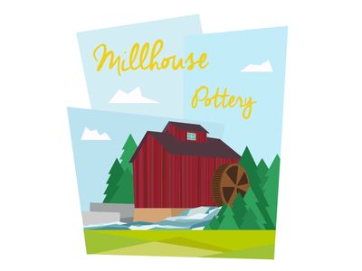 Mill House illustration pottery stream red colourful sky millhouse