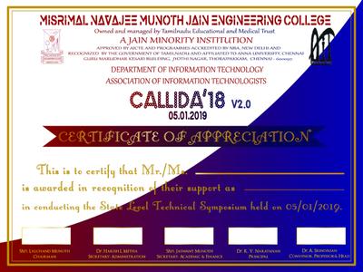 Callida'18 Certificate Appreciation