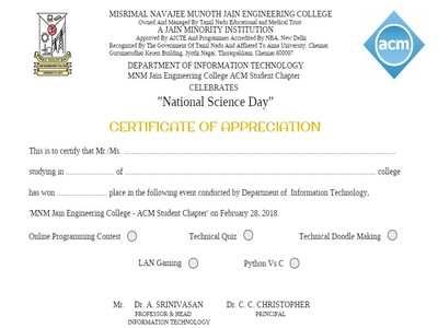 Certificate for National Science Day