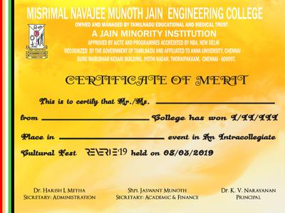 Reverie Merit Certificate