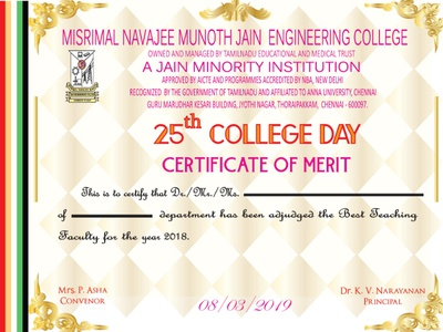 College Day Merit Certificate