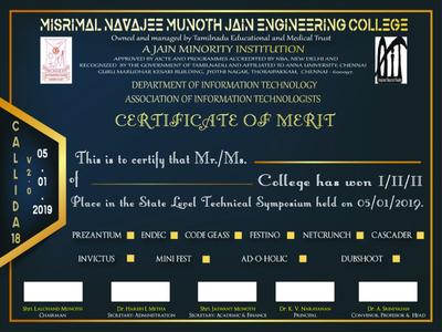Callida Certificate Merit