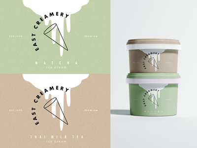 east creamery ice cream design ice cream cone mockup 2d illustration graphic art minimalist branding milk tea matcha ice cream packaging ice cream