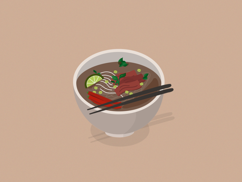 Pho isometric art asian food asian food vietnamese pho 3d art vector graphic art design 3d isometric illustration