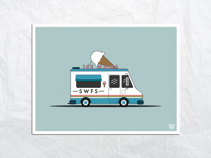Ice Cream Truck illustrator ice cream food truck ice cream truck 2d minimalist vector illustration graphic art design