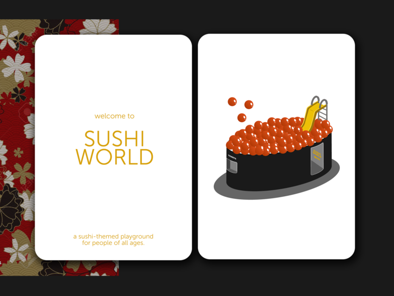 Sushi World minimalist japanese food japanese sushi 3d isometric graphic art design illustration