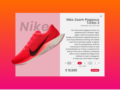Product Landing Page for Nike Zoom Pegasus Turbo 2