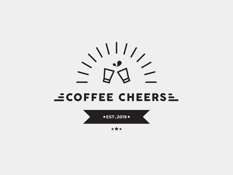 Coffee Cheers coffee shop coffeeshop coffee cafe logo badgelogo cafe badge logo illustration icon design company branding