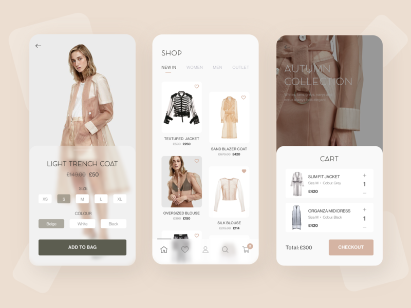 E commerce - UI Concept debut e-commerce navigatio ux ui pink purple beige effect transparent clothes fashion shop concept app mobile arounda