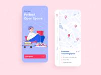 Perfect Coworking - Mobile app concept vector flat coworking typogaphy education mobile illustration purple pink interface design ux ui app web concept arounda