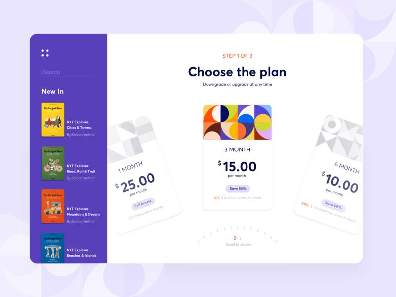 Digital Library - Subscription plan ui vivid bright payment taschen books sketch creative interface web ux subscribe plan pattern design arounda