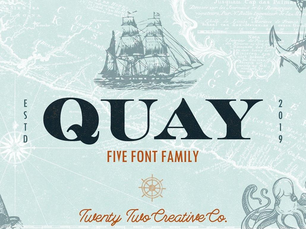 Quay Font Bundle illustration logo branding sea monoline font navy nautical slab serif vintage font serif font font typography