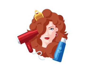 Hair care beauty shampoo dryer care hair hairstyle illustration vector