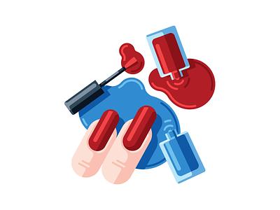Manicure polish nail finger flat simple illustration vector