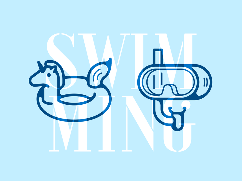 Swimming icons sea swimming scuba diving scuba mask lifebuoy unicorn simple illustration icon vector