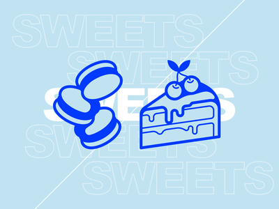 Sweets dessert sugar cherry cookie macaron cake line simple illustration icon vector