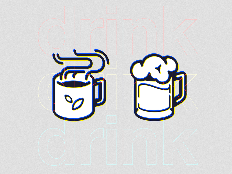 Tea and beer icons mug cup alcohol foam steam beverage drink beer tea illustration icon vector