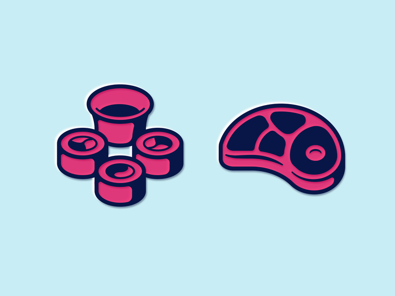 Sushi and meat icons slice fish soy beef rice sushi meat illustration icon vector