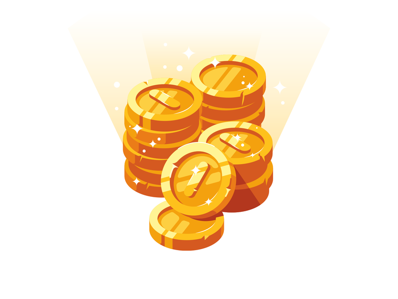 Golden coins money treasure coins gold illustration icon vector