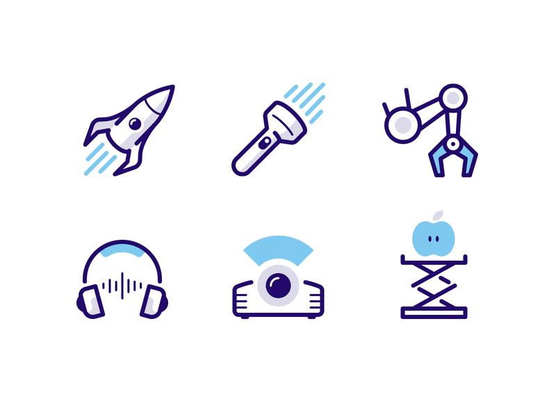 Icons for MEL Kids kids science lift apple projector headphones robot arm flashlight rocket icon vector